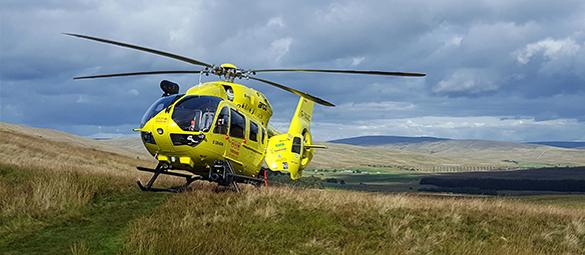 Yorkshire Air Ambulance in a Yorkshire Field