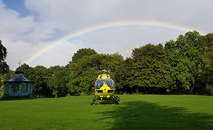 Rainbow over helicopter