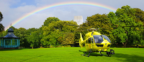 rainbow and helicopter