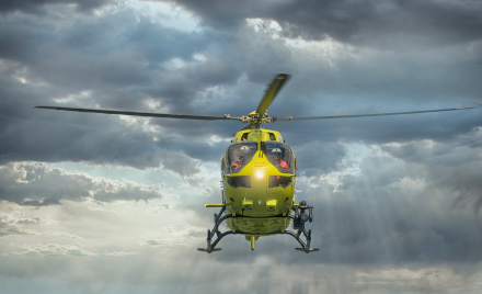 Image of Yorkshire Air Ambulance helicopter in flight