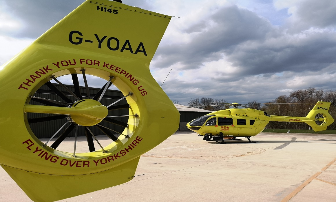 Thank you message on the YAA helicopters