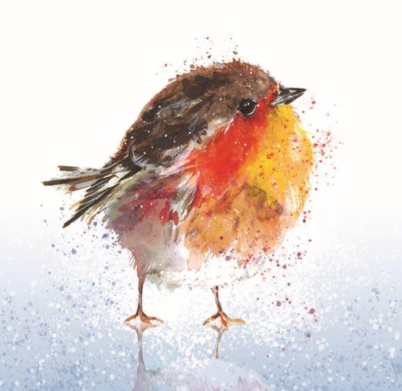 Fluffy Robin on Ice Christmas card 2