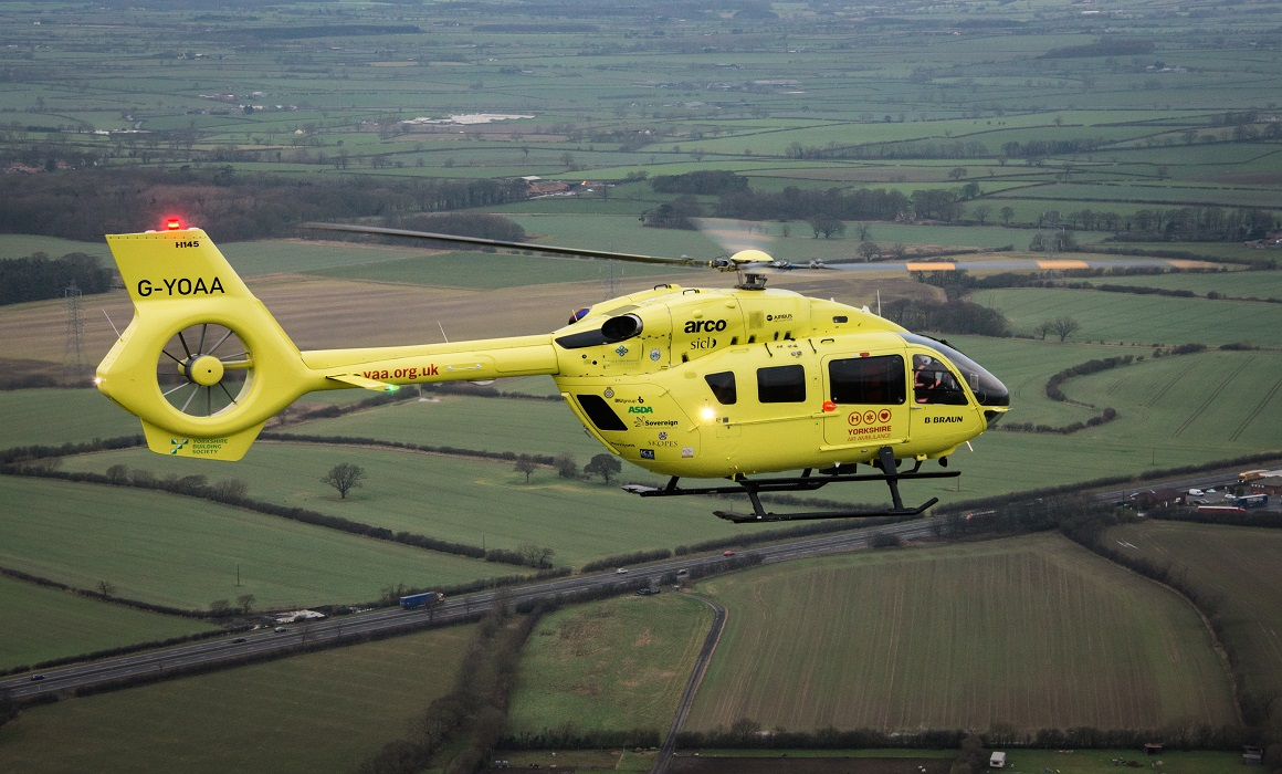 YAA Helicopter flying over Yorkshire