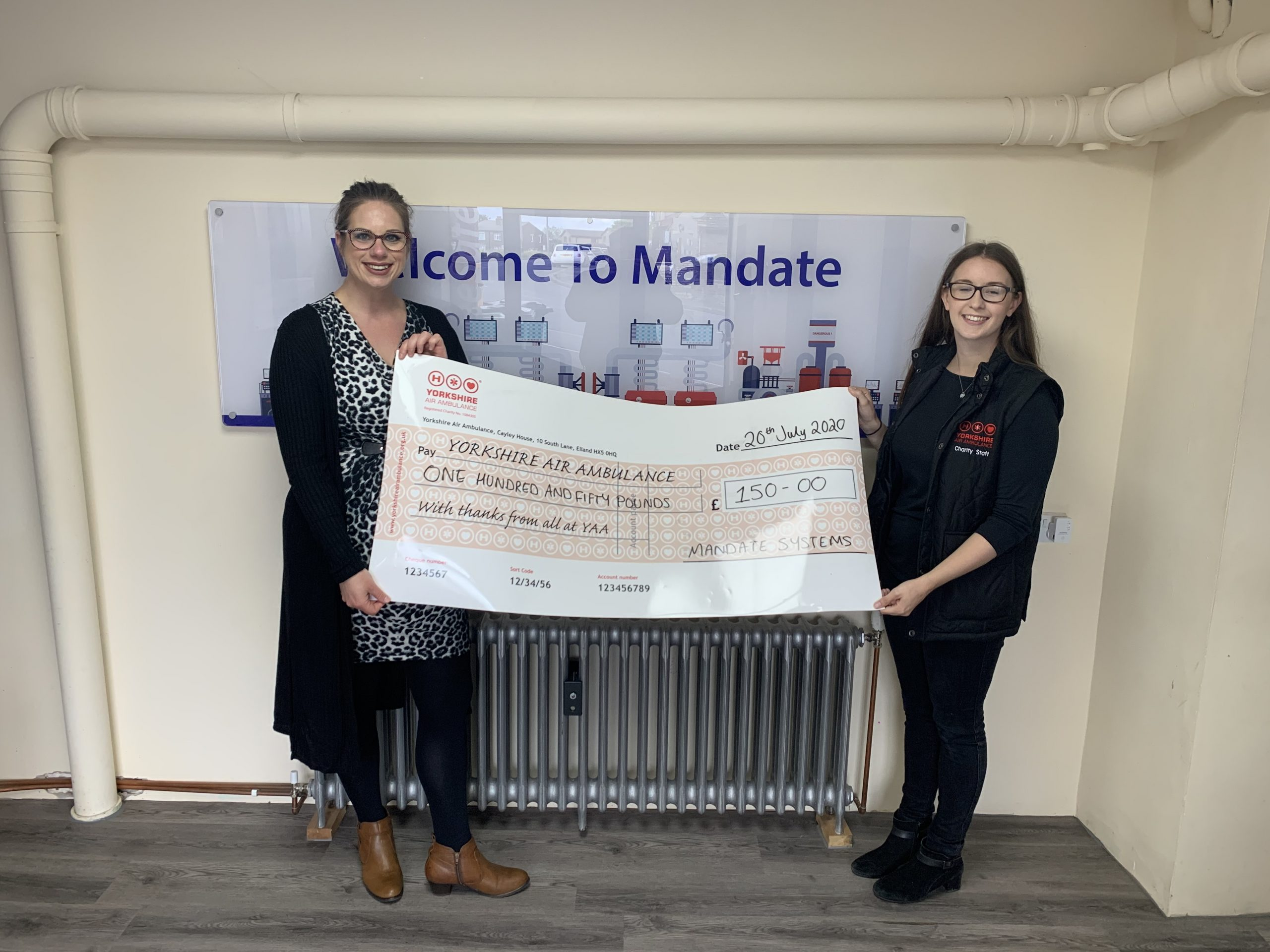 Mandate Systems with a cheque for the YAA