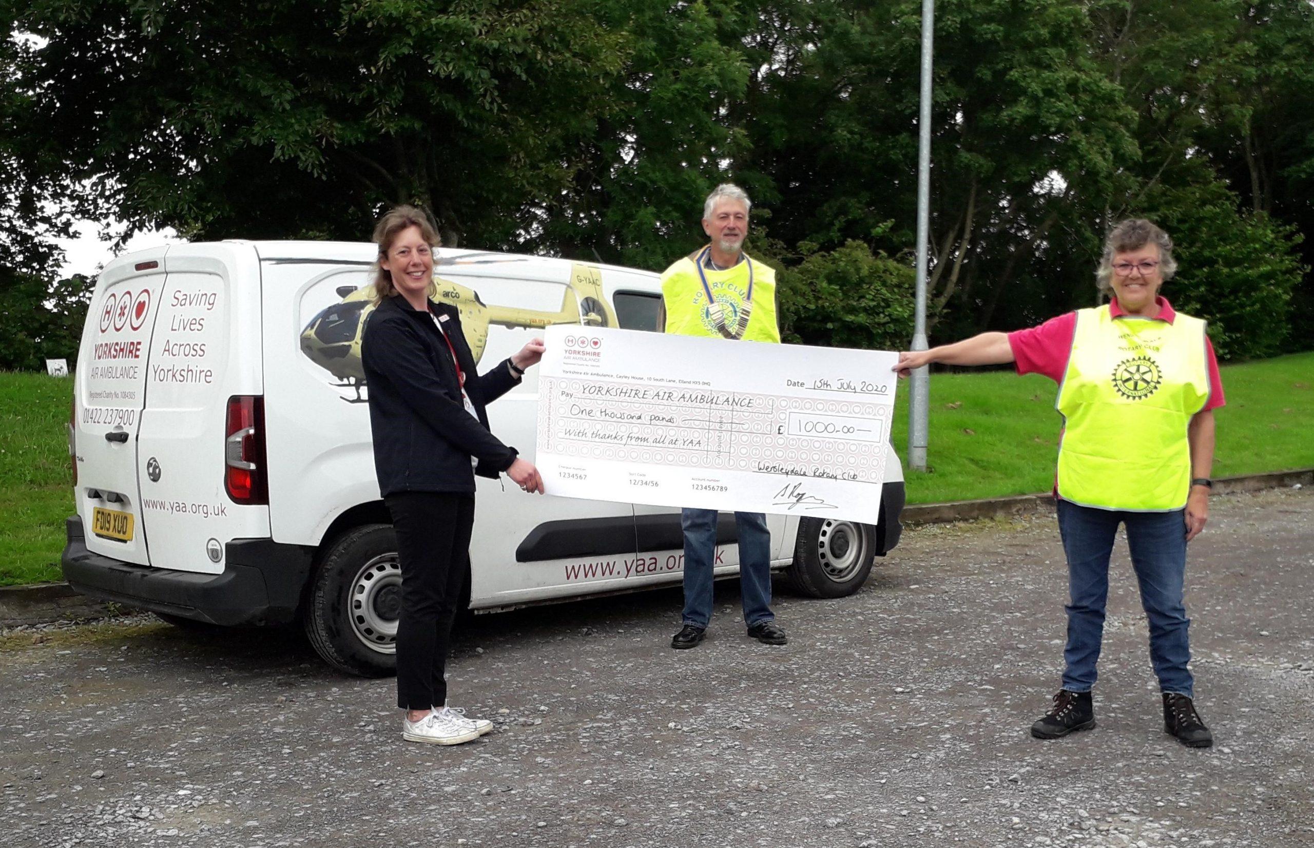 Wensleydale Rotary Club raise £1,000 for the YAA