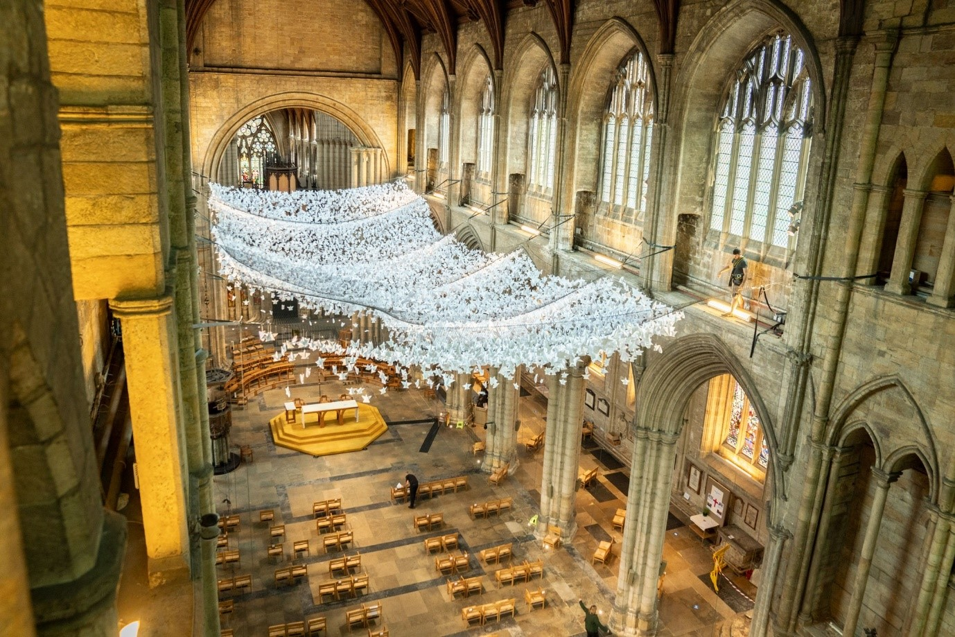 10,000 paper angels exhibited at Ripon Cathedral
