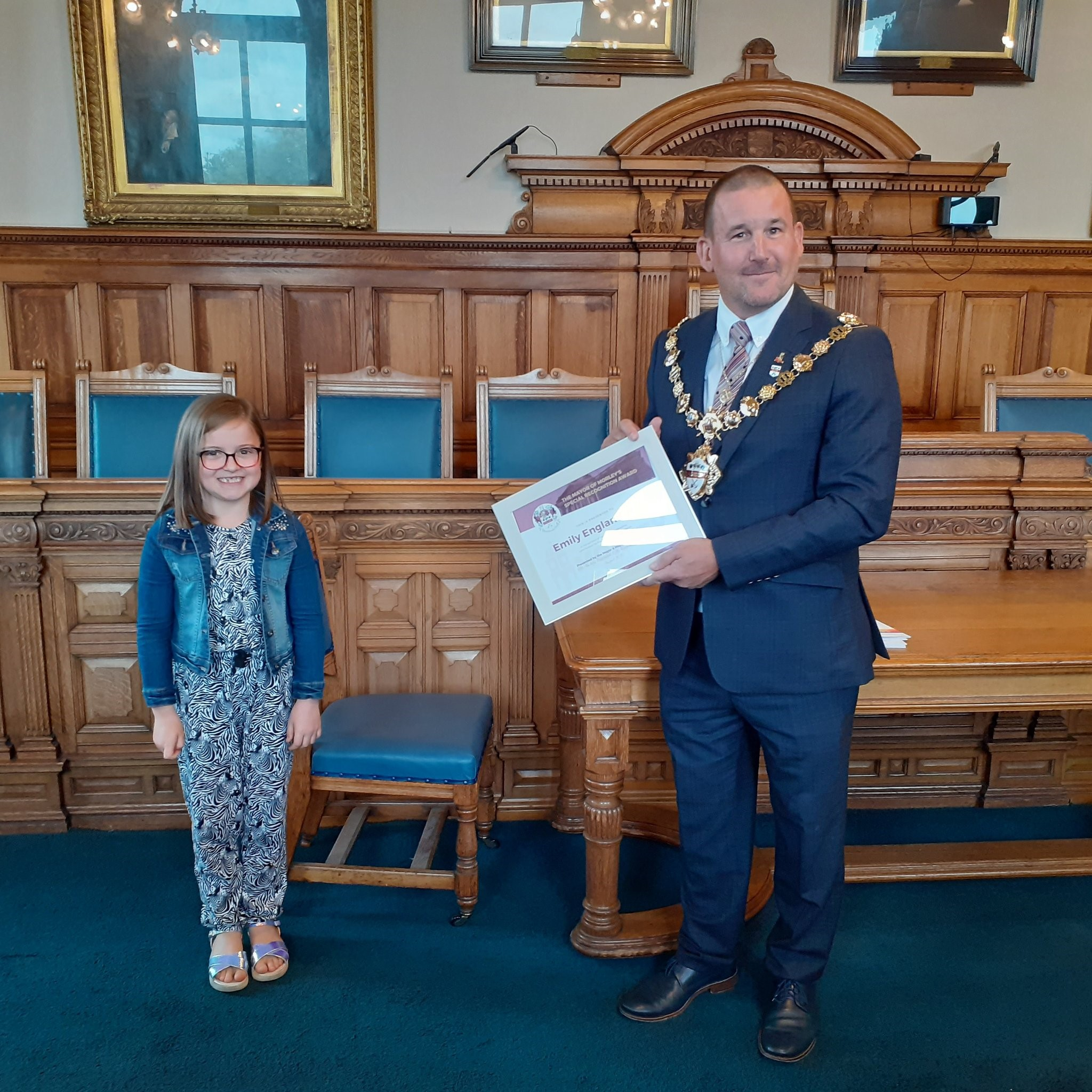 Seven year old Emily honoured with Special Achievement Award from Mayor of Morley for fundraising efforts