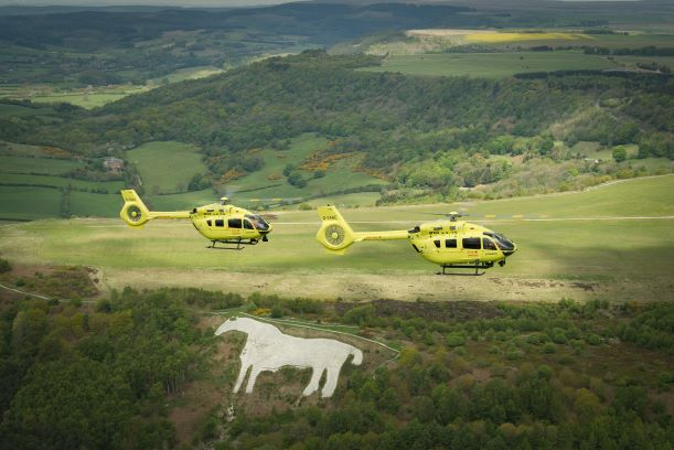 YAA helicopters & white horse