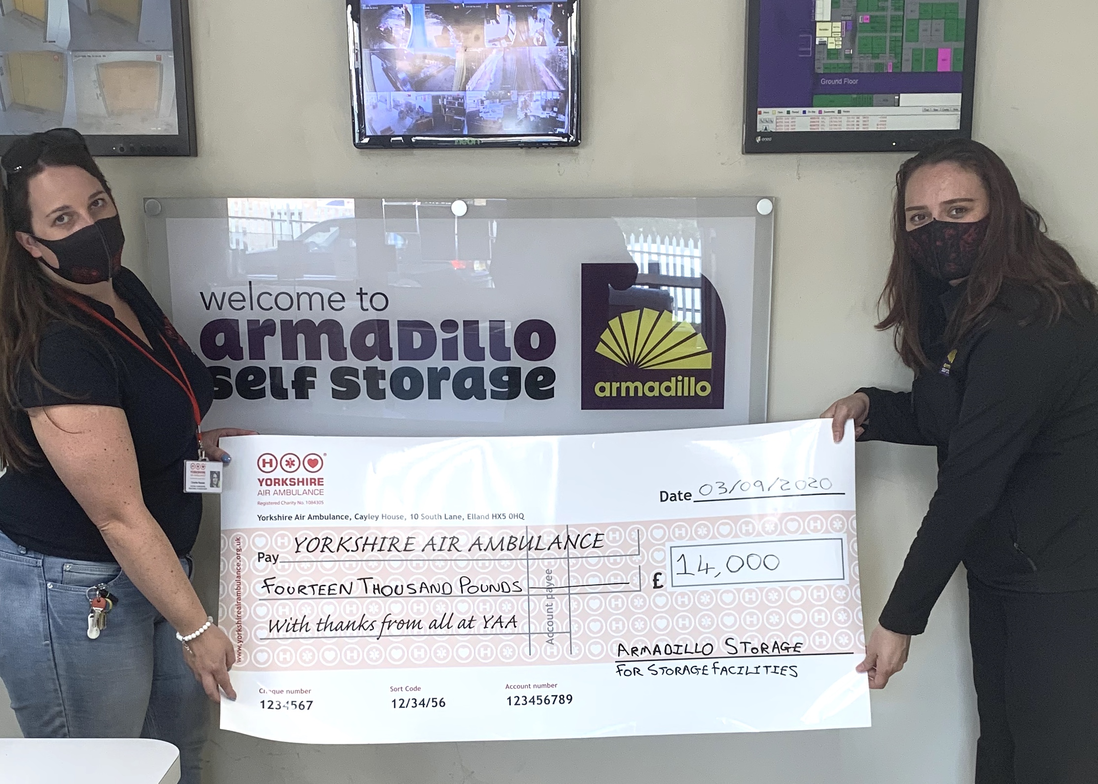 Armadillo Self-Storage at Sheffield Parkway reach £14,000 donation milestone for Yorkshire Air Ambulance