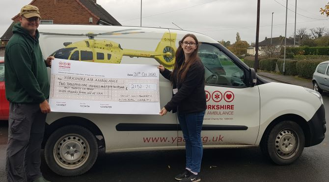 Charity Fishing club with a cheque for YAA