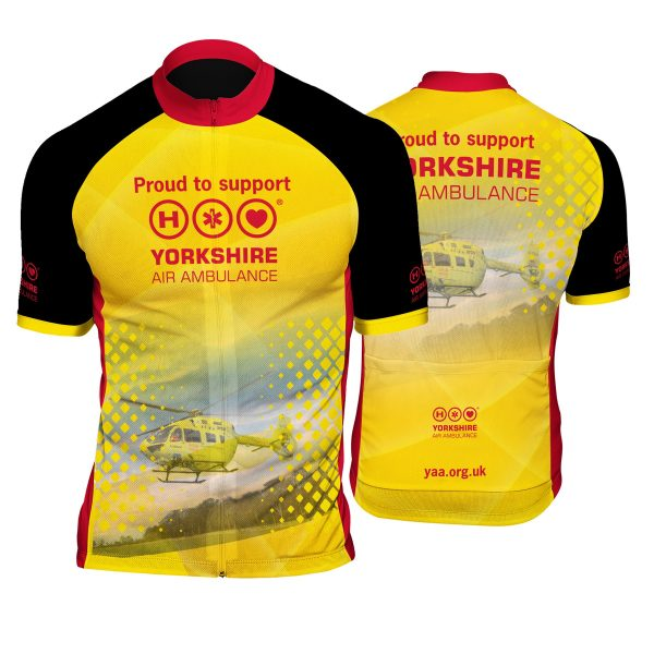 Image of the front and back of the YAA cycling jersey
