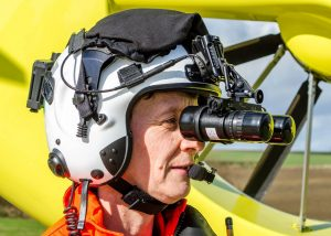 Photo of Yorkshire Air Ambulance crew member wearing Night Vision goggles
