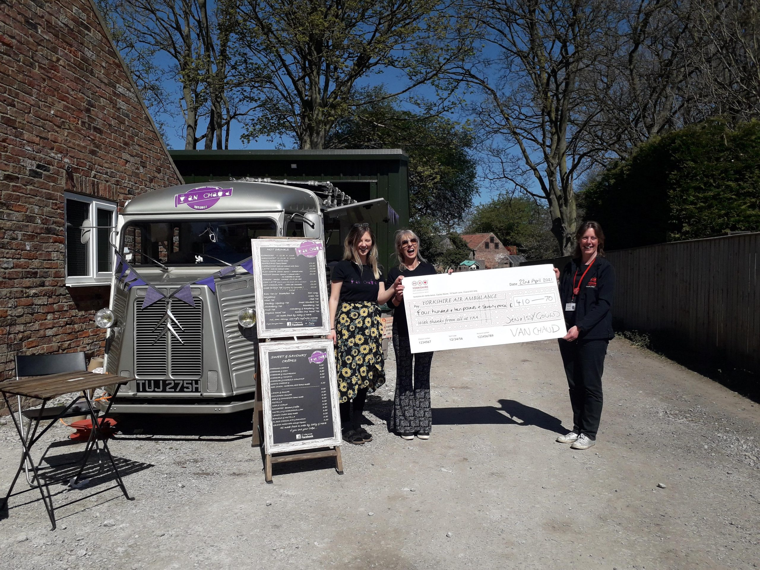 Coffees & Crepes for donations from a van on their drive