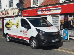 Yorkshire Air Ambulance Fundraising Van outside a shop