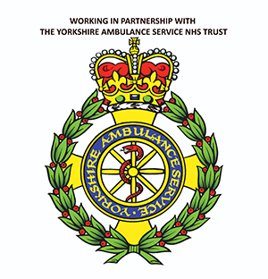 Yorkshire Ambulance Service Logo with the words Working in Partnership with The Yorkshire Ambulance Service NHS Trust