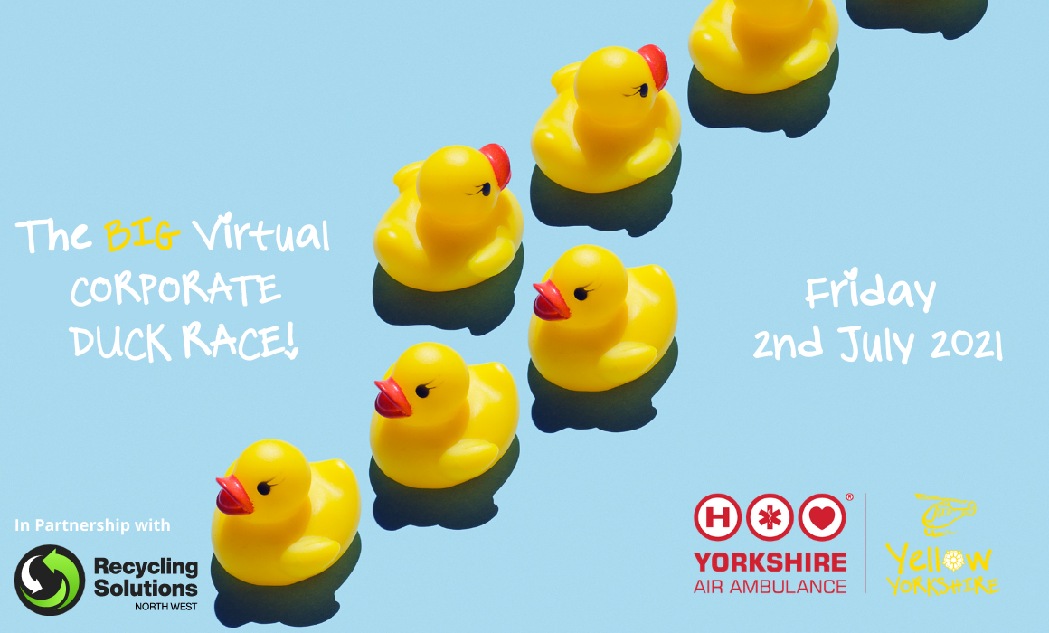 Image of rubber ducks with details of the Yorkshire Air Ambulance Big Virtual Duck Race 2021