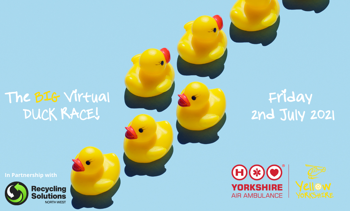 Image of rubber ducks with details of the Yorkshire Air Ambulance Big Virtual Duck Race