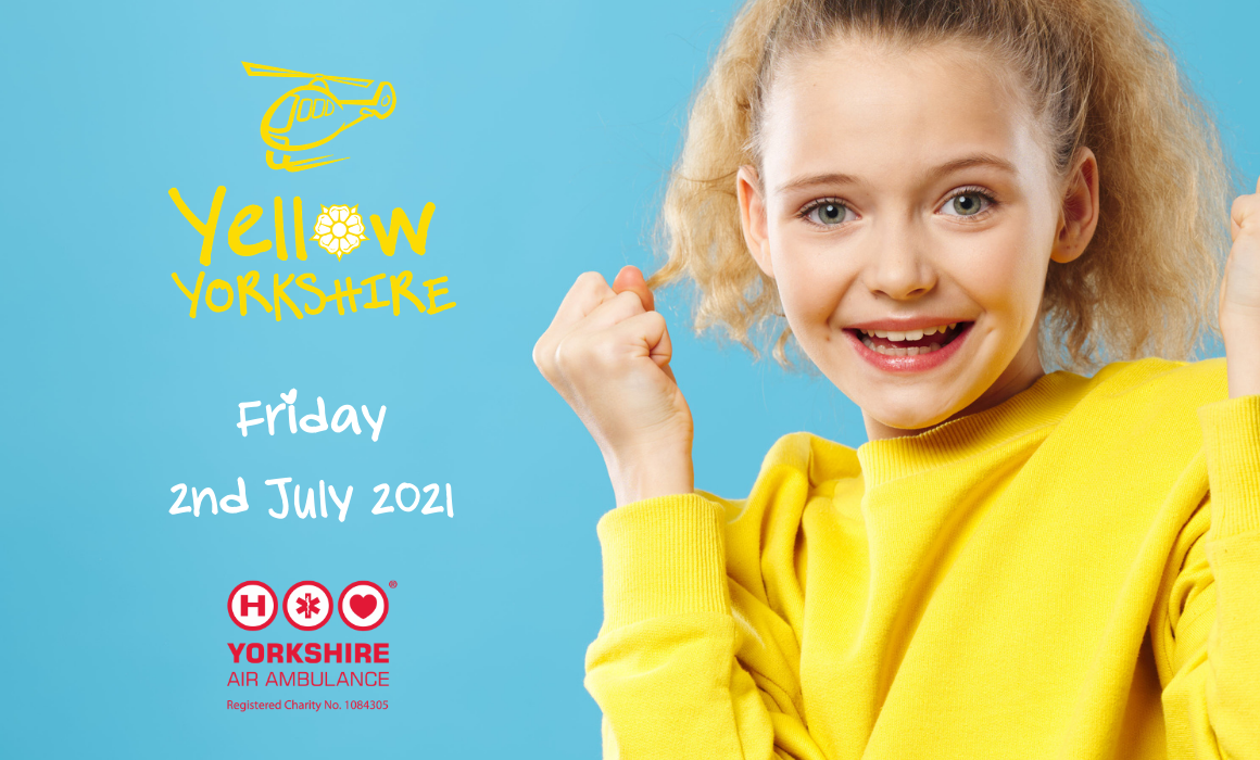 Yellow Yorkshire Day 2021 with logos and picture of a girl wearing a yellow jumper