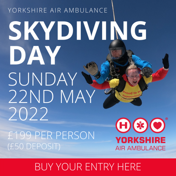 Graphic showing tandem skydive with person wearing yellow Yorkshire Air Ambulance T-Shirt. Wording says Yorkshire Air Ambulance Skydiving Day Sunday 22nd September 2022. Entry £199 per person with £50 deposit. Buy your entry here.